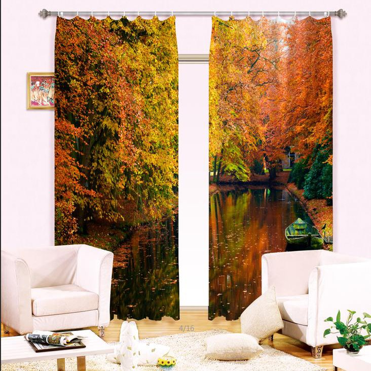 Amazing Boat on Still Water Printing Blackout 3D Curtain