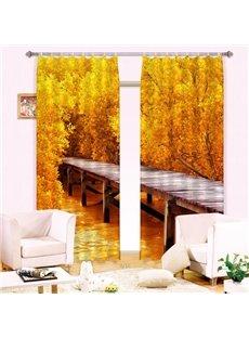 Hot Selling Timber Bridge Golden Wood Print Blackout 3D Curtain