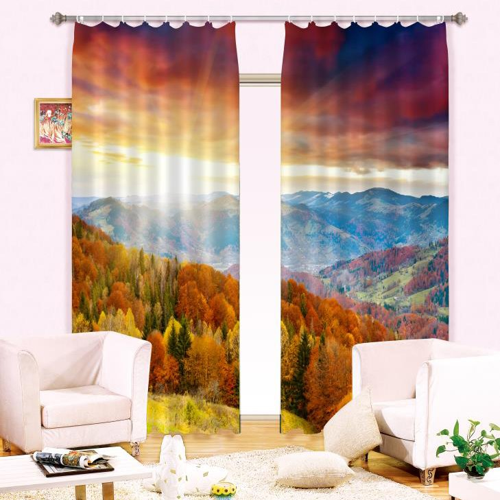 Splendid Forest Mountain Natural Scenery 2 Pieces Living Pic