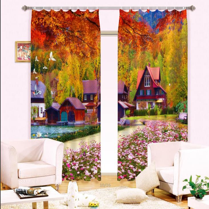 3D Red Trees and Wooden House with Beautiful Peach Flowers Decorative Curtain
