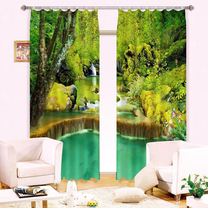 Green Forest Waterfall Print Energy Saving 3D Curtain