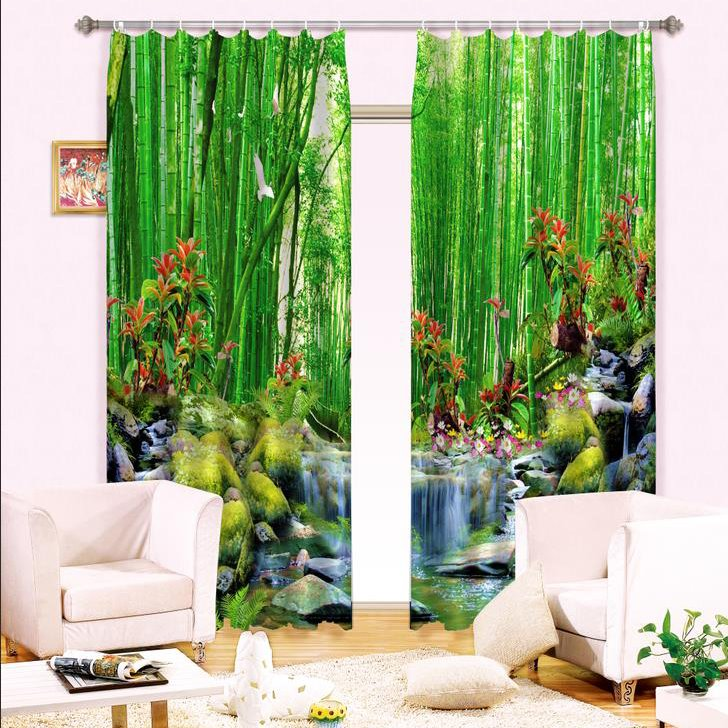 Beautiful Forest Flower Waterfall Print Energy Saving 3D Curtain