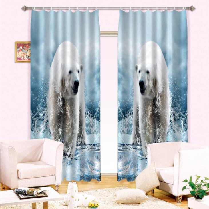 3D Hot Selling Polar Bear Printed Thick Polyester Decorative and Blackout Curtain