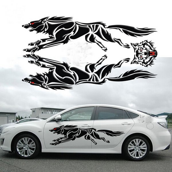 Lifelike D Creative Running Unique Strong Wolf Car Body Stickers - Stickers for the car