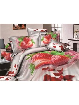 Strawberry and Rose Petal Print 4-Piece Cotton Duvet Cover Sets