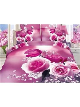 Pink Rose and White Flower Print 4-Piece Cotton Duvet Cover Sets
