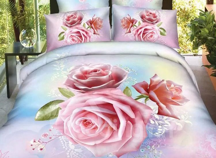 Cream Pink Rose Print 4-Piece Cotton Duvet Cover Sets