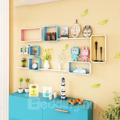 Classic 2-Set Wood Wall Shelves with Free Wall Stickers