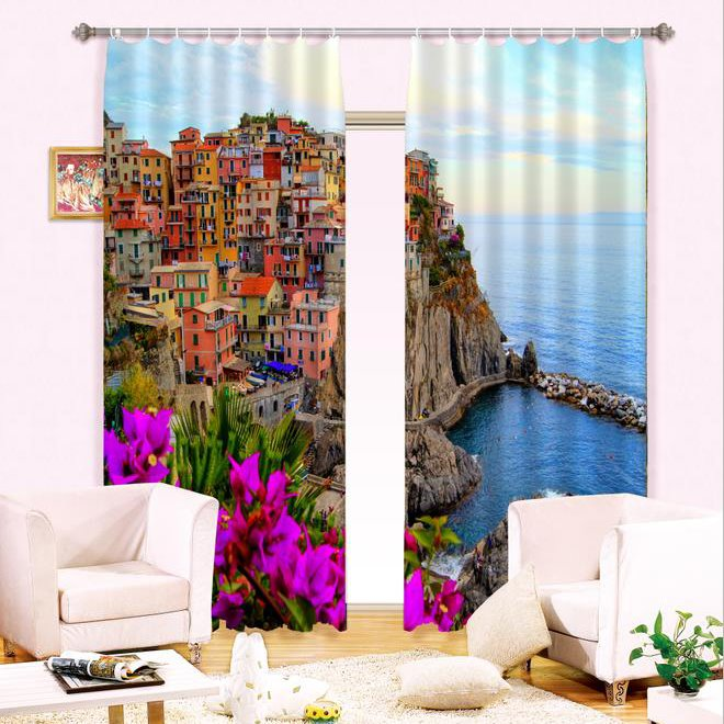 Wonderful Seaside City View Thick Polyester 2 Pieces Energy Saving 3D Curtain