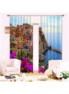 Wonderful Seaside View Energy Saving 3D Curtain