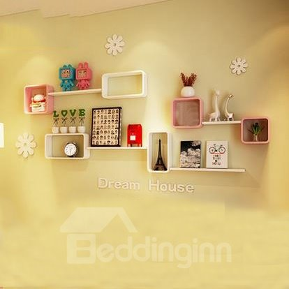 Environmental Protection 2-Set Wood Wall Shelves with Free Wall Stickers