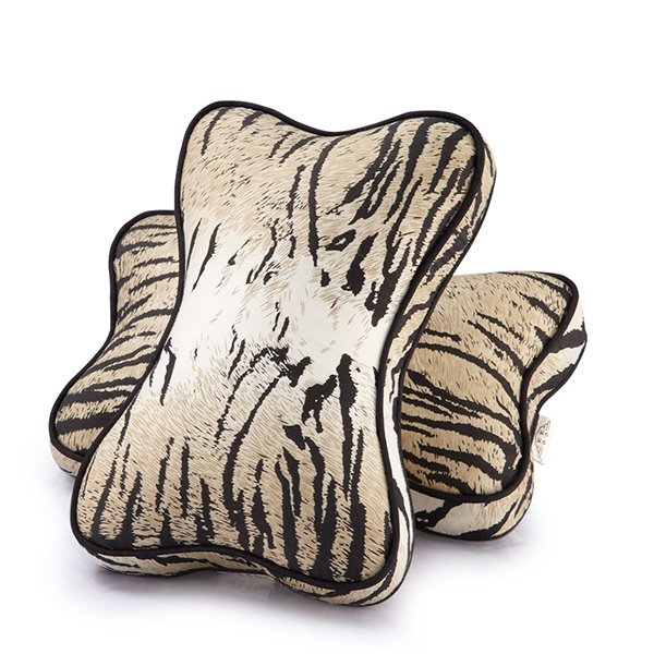 Tiger Strips Bone Shape 2-Piece Car Neckrest Pillows