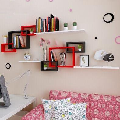 Amazing Red and Black 1-Set Wood Wall Shelves