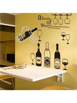 Creative Bottle of Wine Letters and Cups Pattern Wall Stickers