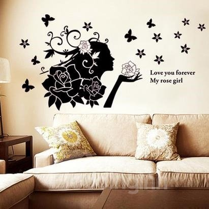 Romantic Love You Forever Rose Girl Wall Stickers