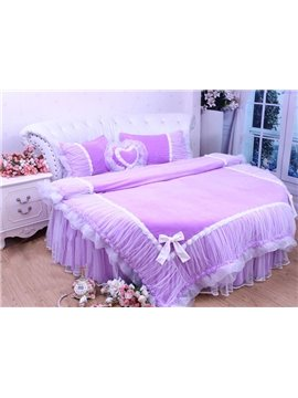 Bowtie Trim Lace 4-Piece Princess Duvet Cover Sets