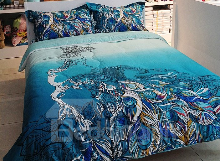 Great Peacock Feather Print 4 Piece Cotton Duvet Cover