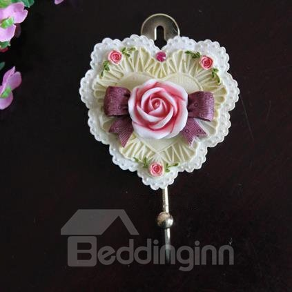 Elegant Lifelike Heart Shape Resin Rose Wall Hook