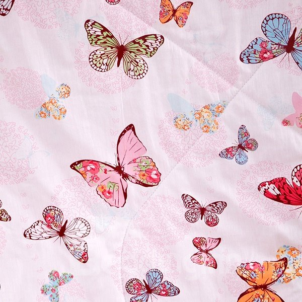 Lifelike Butterflies Printing Covered Edge Cotton Quilt