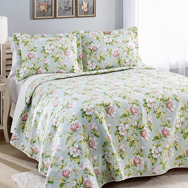 Blooming Flowers with Leaves 3-Piece Cotton Bed in a Bag Set