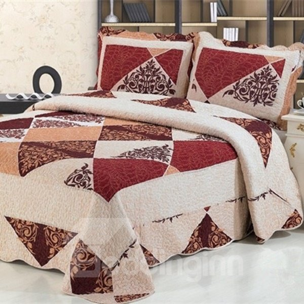 Red Checks Printing Quilting Process 3-Piece Cotton Bed in a Bag Set