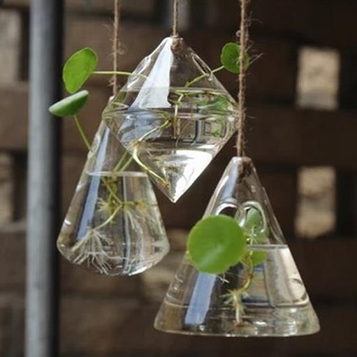 Fashion Hydroponics Small Hanging Glass Bottle Set