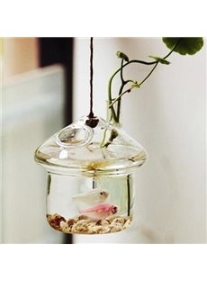 Pretty Mushroom House Hanging Glass Vase