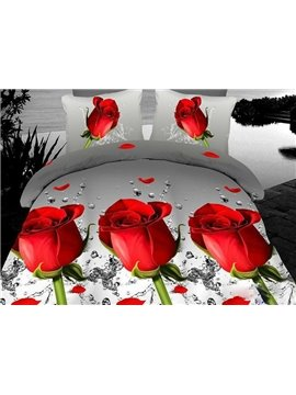 Bright Red Rose Print 4-Piece Polyester Duvet Cover Sets
