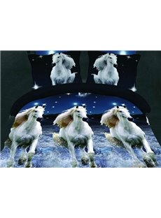 Gorgeous Running Horse Print 4-Piece Polyester Duvet Cover Sets
