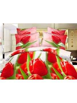 Shining Dewy Red Tulips Print 4-Piece Polyester Duvet Cover Sets