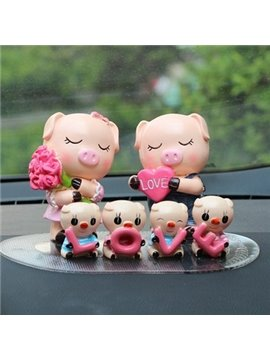 Six Cute Pigs Love Family Resin Car Decor