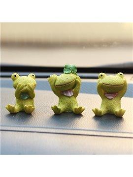 Three Cute Sitting Resin Frogs Cartoon Creative Car Decor