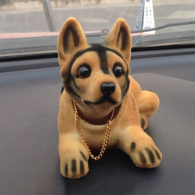 Resin Flocking Shaking Head Shepherd Dog Creative Car Decor