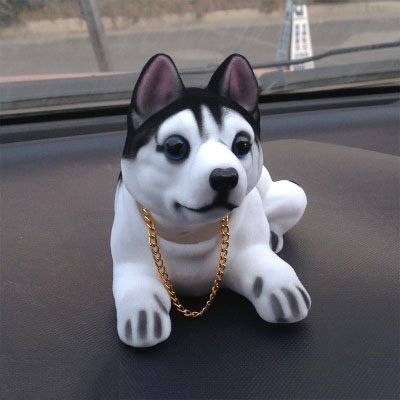 Resin Flocking Shaking Head  Huskie Creative Car Decor