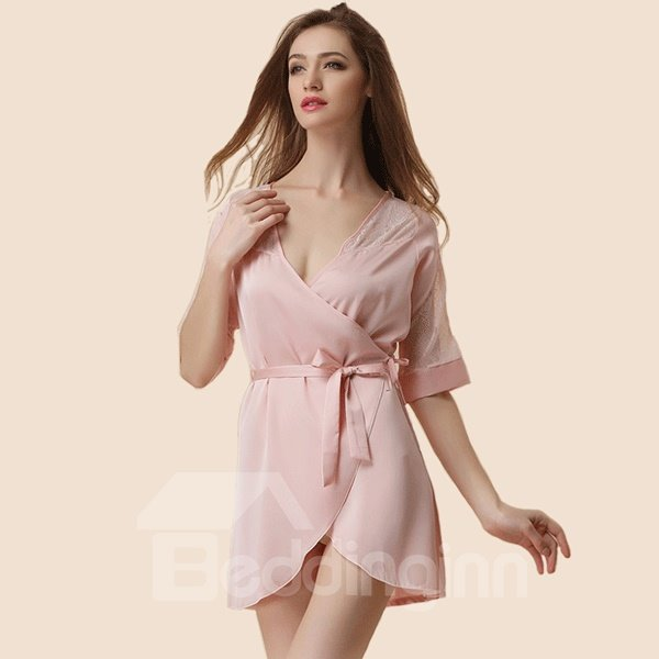 Lace Sexy Hollow Out Soft Elegant Bathrobe