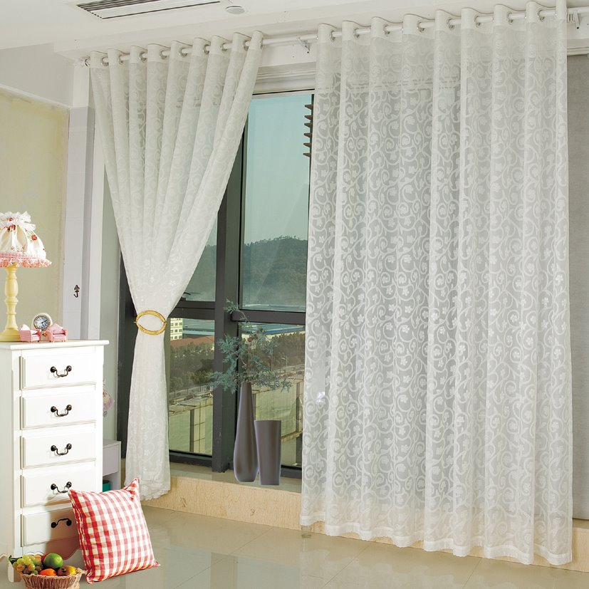 Modern Fashion White Living Room&Bedroom Custom Sheer Curtain