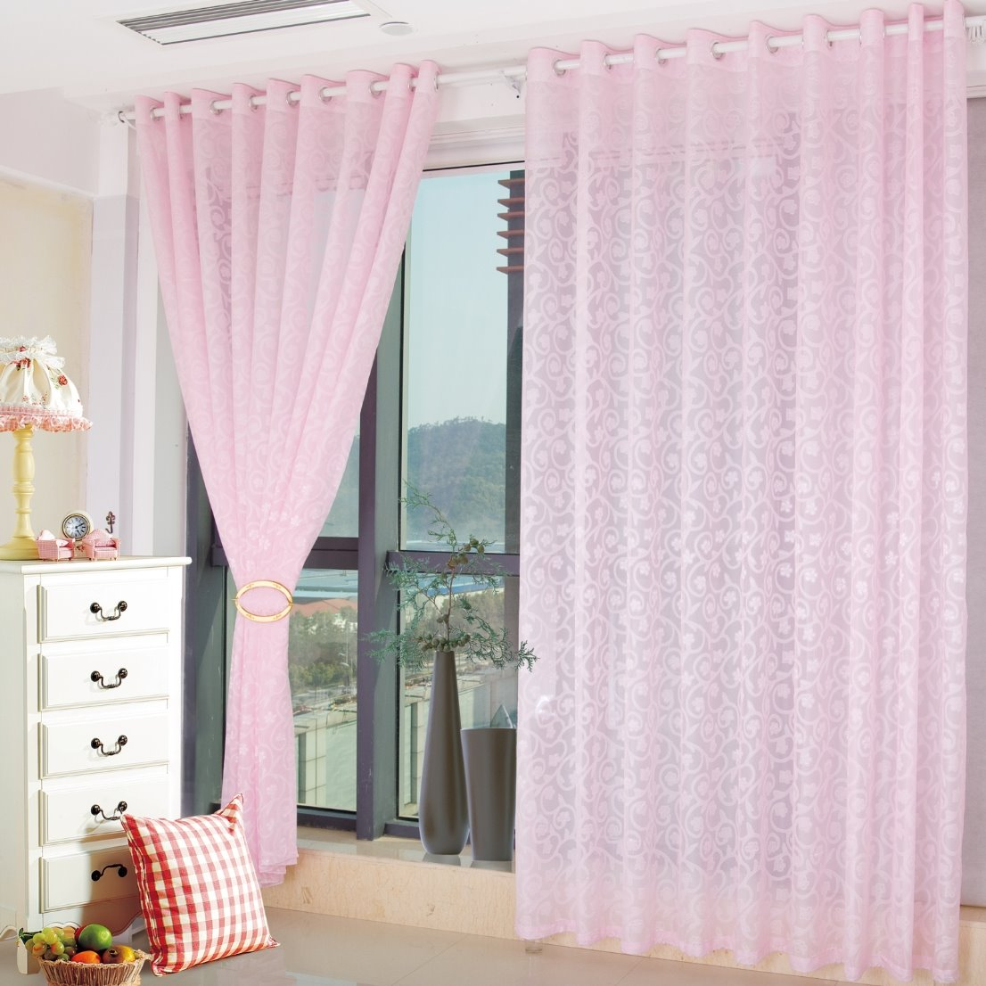 Wonderful Pink Living Room&Bedroom Custom Sheer Curtain