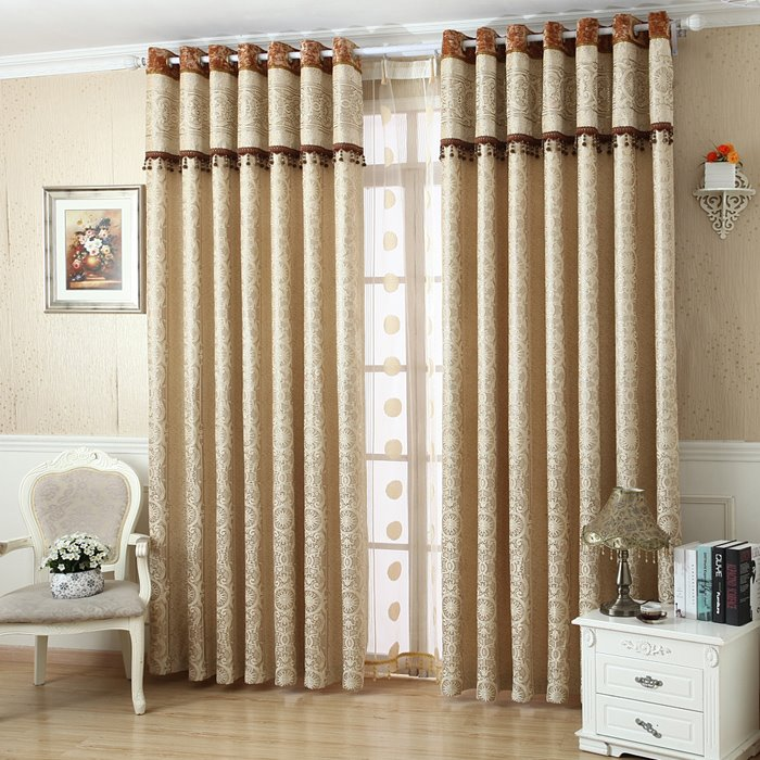 Blackout and Decorative Jacquard Contemporary Beige Bedroom and Living Room Curtain