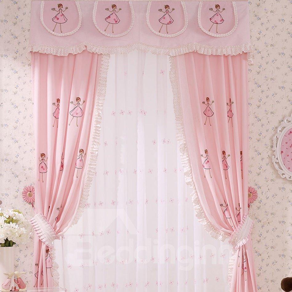 Cartoon Embroidery Cinderella Girls Room Curtain