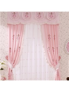 Cartoon Embroidery Cinderella Girls Room Curtain