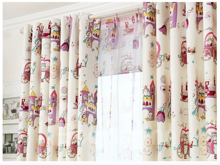 Cute Cartoon Design Cinderella Girls Room Curtain