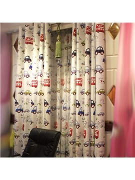 Kids' Room Cute Cartoon Cars Design Noise Reducing Curtain