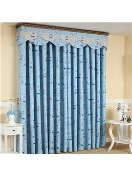 Blue Cute Cartoon Cats Design Noise Reducing Curtain