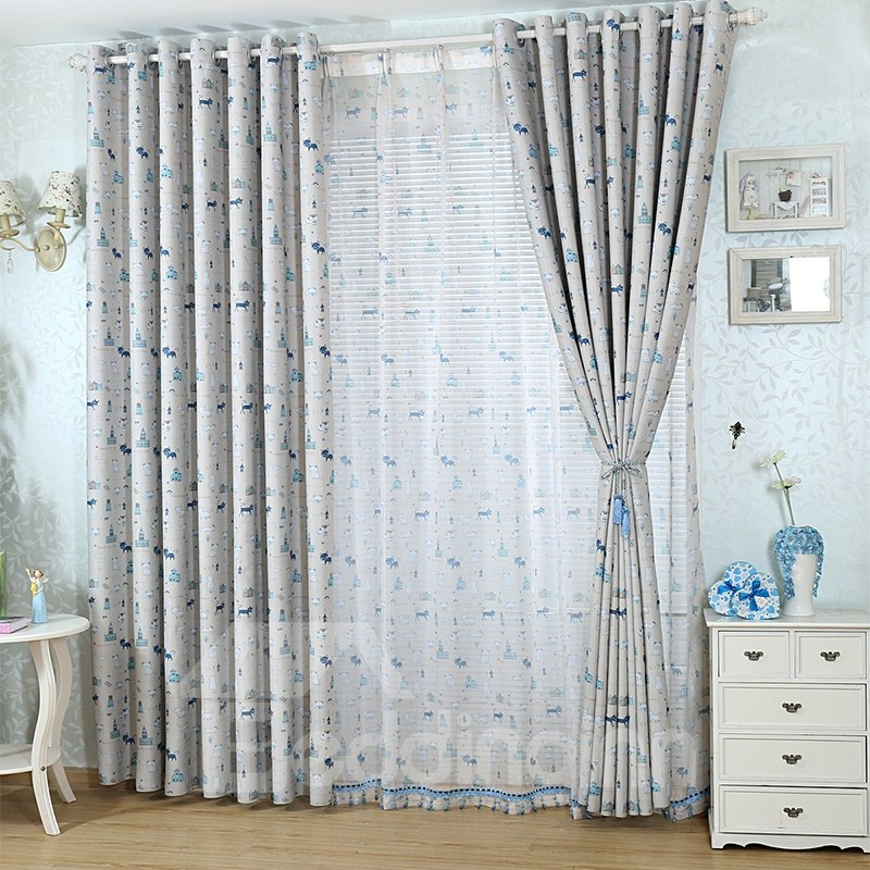 Gray Cute Cartoon Cats Design Energy Saving Curtain