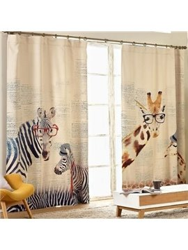Wonderful Giraffe Zebra Design Kid's Room Light Blocking Curtain