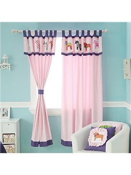Pink Little Horses Design Kid's Room Custom Curtain