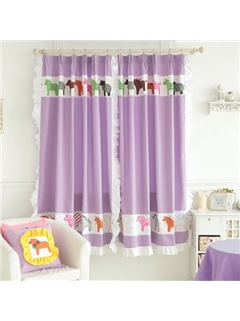Purple Little Horses Design Kid's Room Custom Curtain