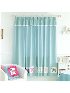 Energy Saving Blue Little Horses Design Kid's Room Custom Curtain
