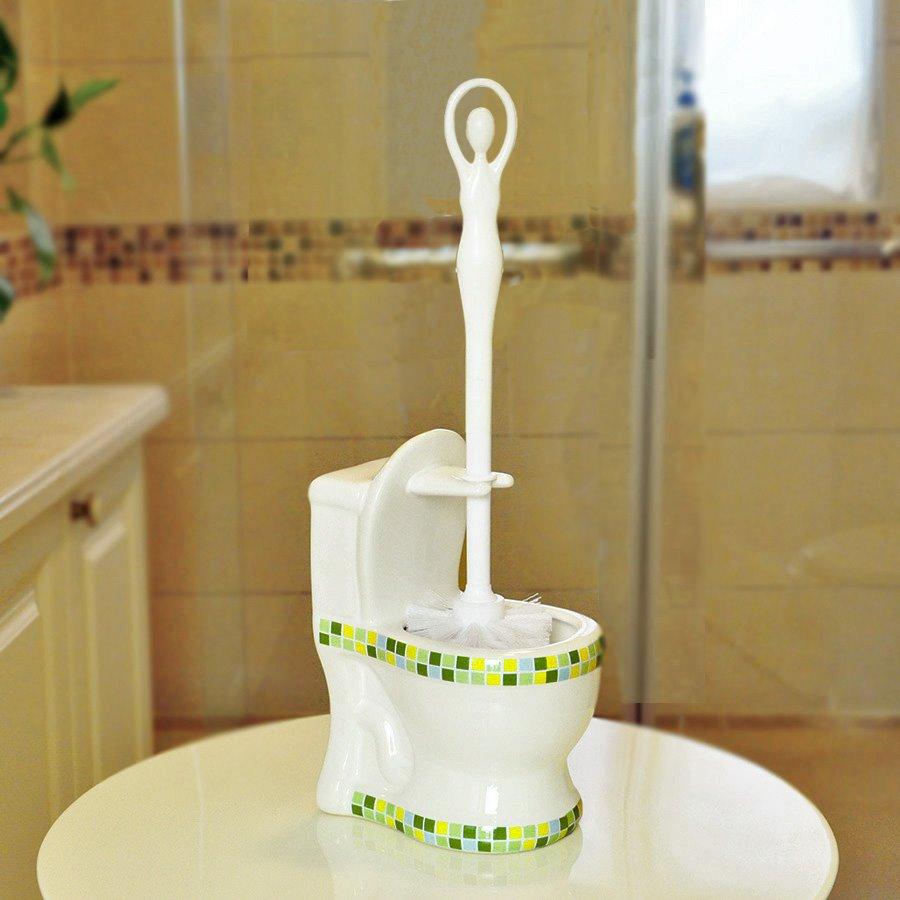 Toilet Modelling Ceramics Mosaic Toilet Brush Set