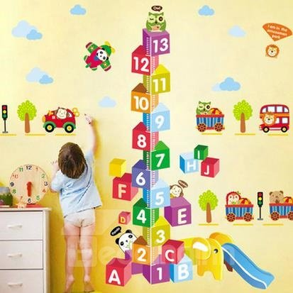 Baby Toy Bricks Numbers and Cars Wall Stickers